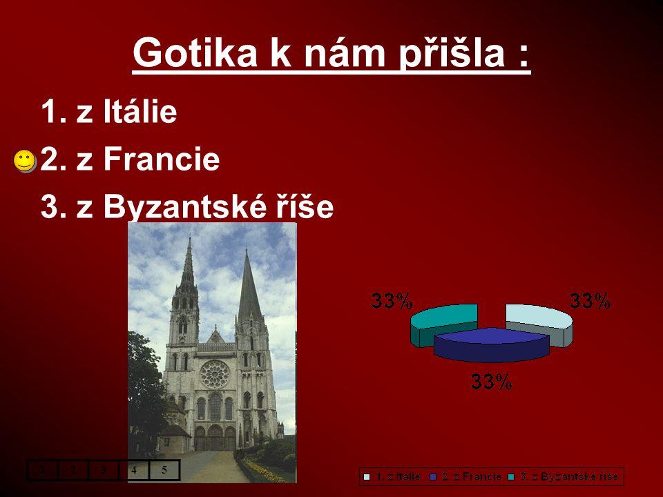 Gotika k nám přišla : 1. z Itálie 2. z Francie 3. z Byzantské říše 1 2