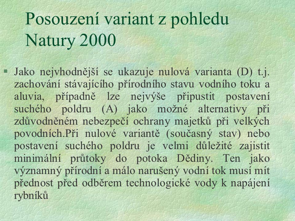 Posouzení variant z pohledu Natury 2000