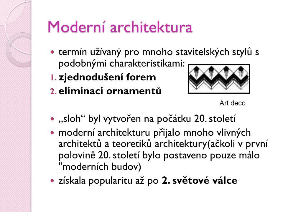 Moderní architektura termín užívaný pro mnoho stavitelských stylů s podobnými charakteristikami: zjednodušení forem.