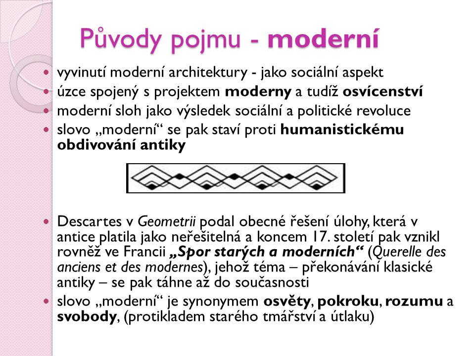 Původy pojmu - moderní vyvinutí moderní architektury - jako sociální aspekt. úzce spojený s projektem moderny a tudíž osvícenství.