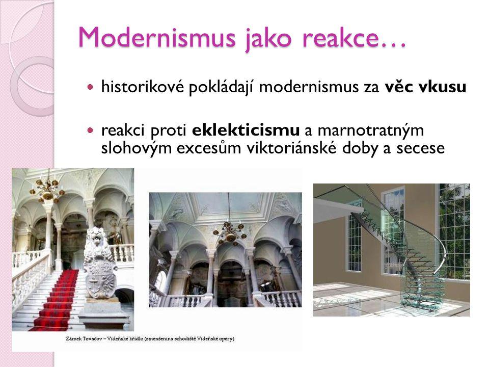 Modernismus jako reakce…