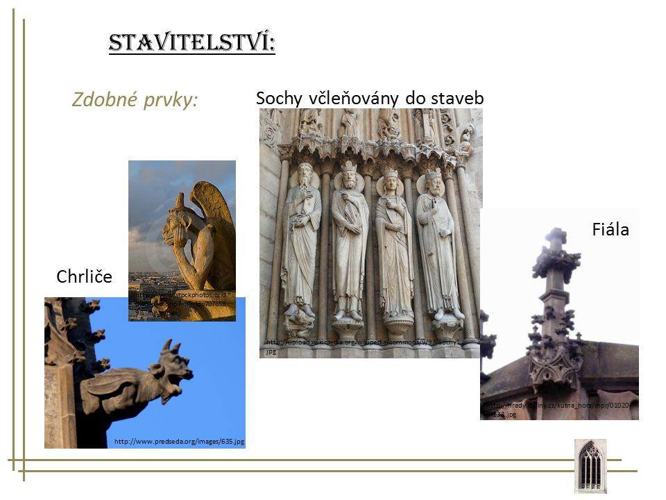 Stavitelství: Zdobné prvky: Sochy včleňovány do staveb Fiála Chrliče