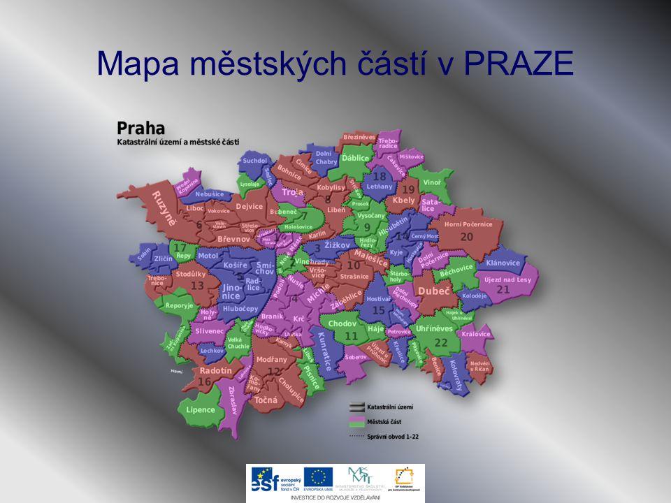 Mapa městských částí v PRAZE