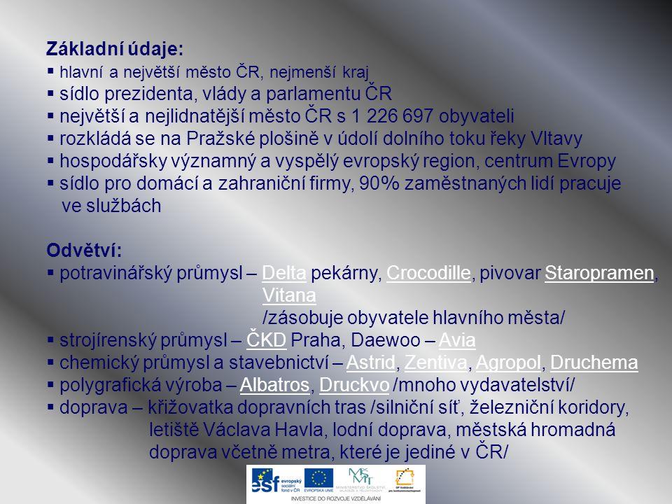 Základní údaje: hlavní a největší město ČR, nejmenší kraj. sídlo prezidenta, vlády a parlamentu ČR.