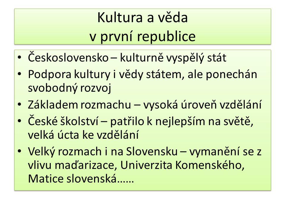 Kultura a věda v první republice