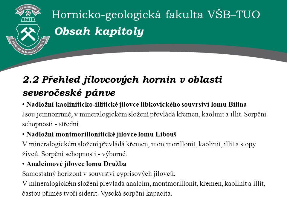 Obsah kapitoly 2.2 Přehled jílovcových hornin v oblasti severočeské pánve.