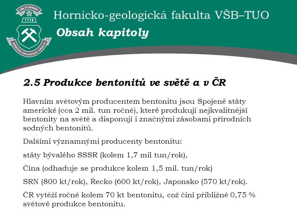 Obsah kapitoly 2.5 Produkce bentonitů ve světě a v ČR