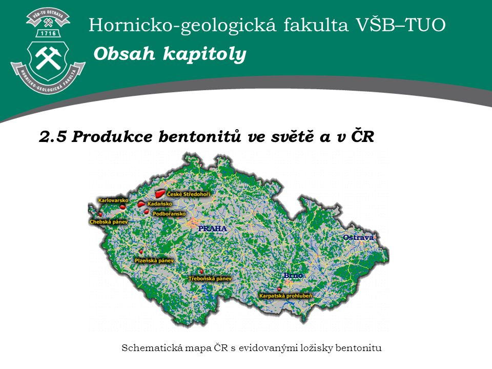 Schematická mapa ČR s evidovanými ložisky bentonitu