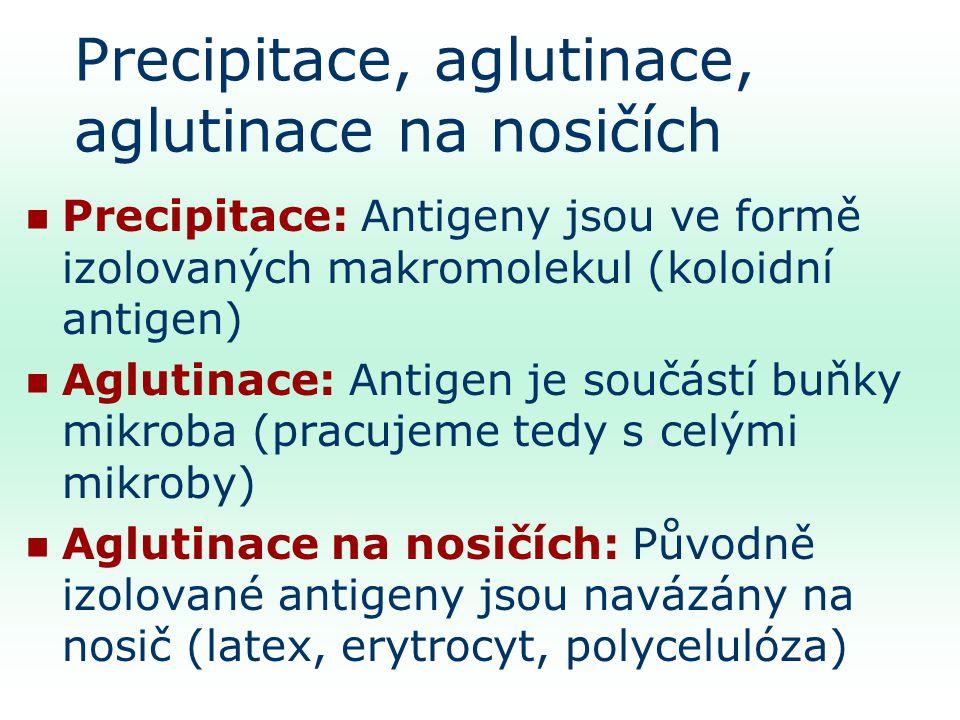 Precipitace, aglutinace, aglutinace na nosičích
