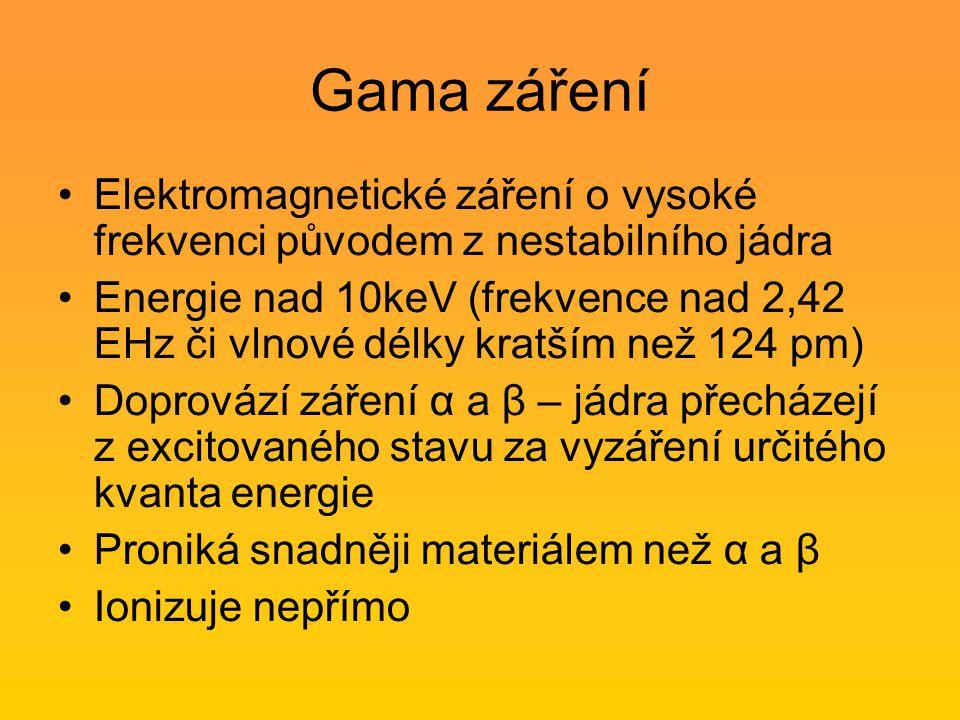Gama záření Elektromagnetické záření o vysoké frekvenci původem z nestabilního jádra.