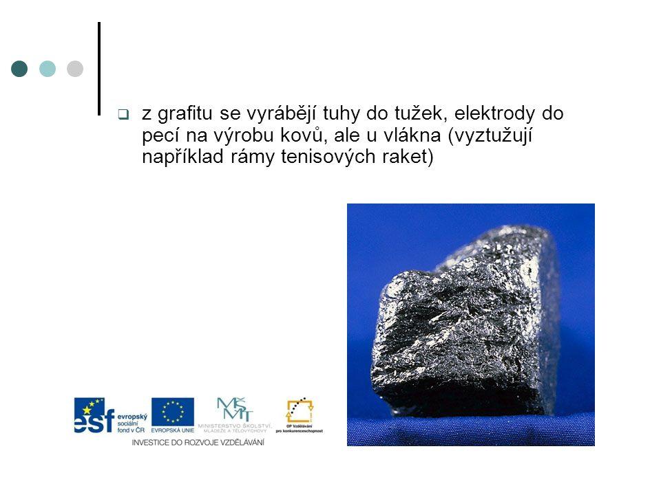 z grafitu se vyrábějí tuhy do tužek, elektrody do pecí na výrobu kovů, ale u vlákna (vyztužují například rámy tenisových raket)