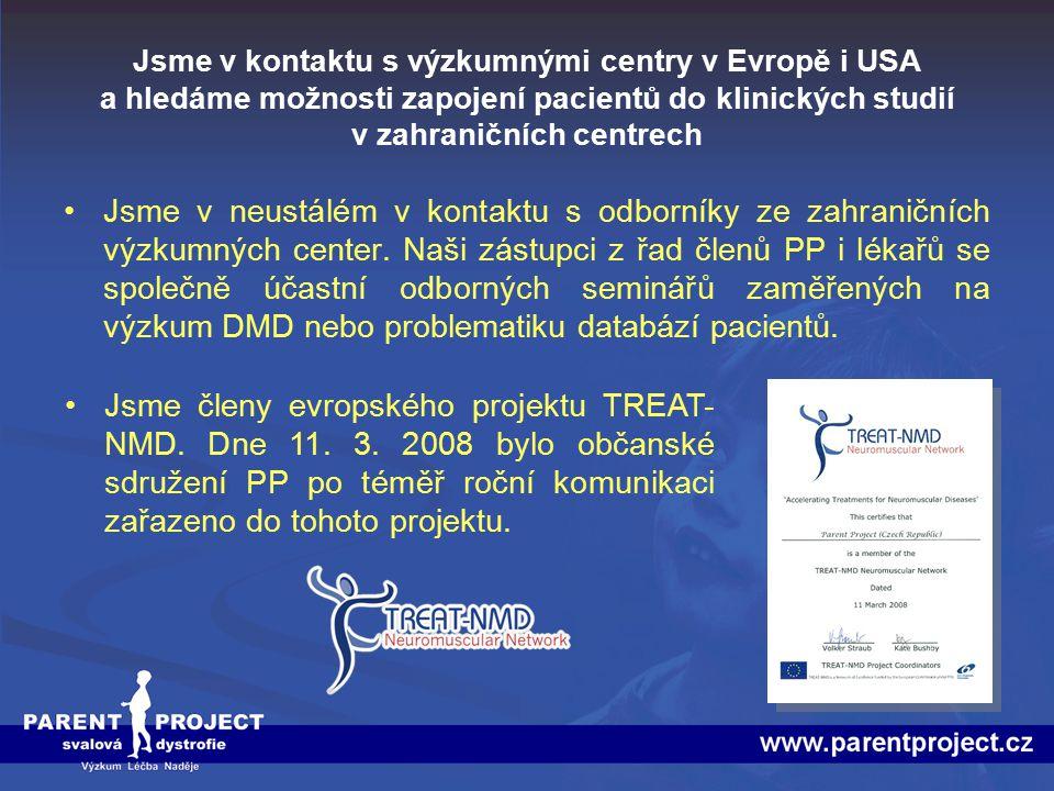 Jsme v kontaktu s výzkumnými centry v Evropě i USA a hledáme možnosti zapojení pacientů do klinických studií v zahraničních centrech