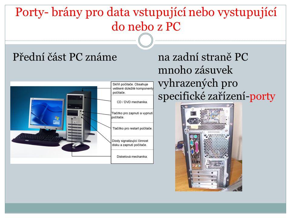 Porty- brány pro data vstupující nebo vystupující do nebo z PC