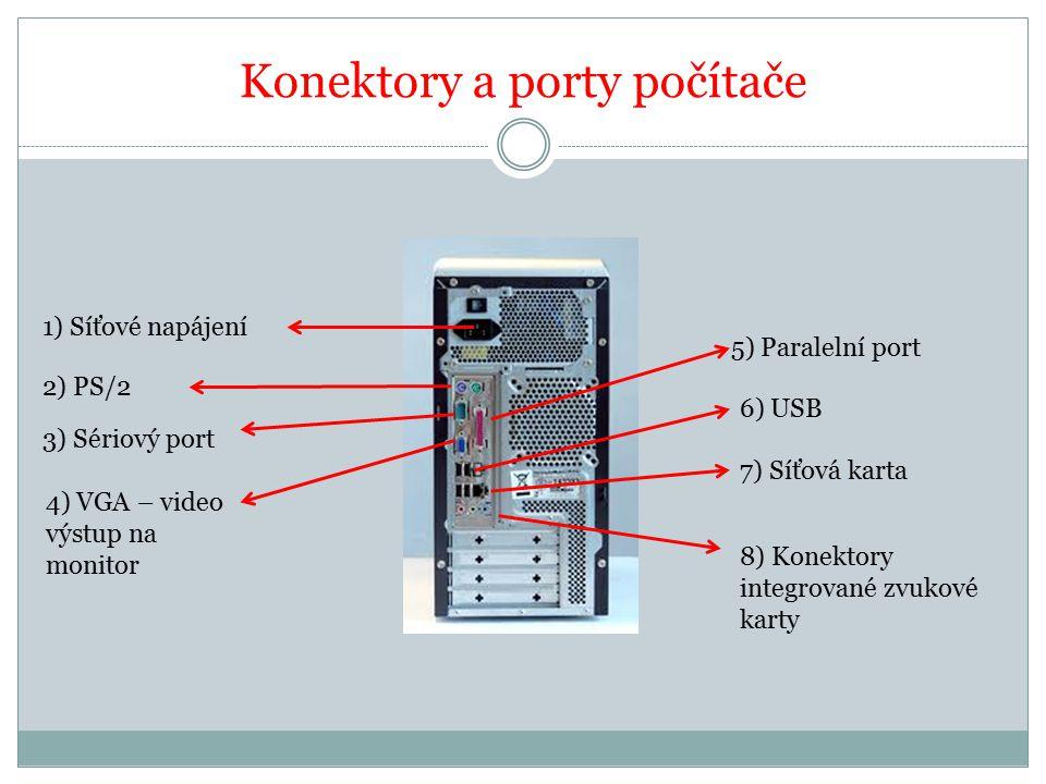 Konektory a porty počítače