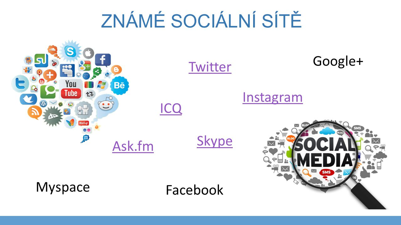 Známé sociální sítě Google+ Twitter Instagram ICQ Skype Ask.fm Myspace