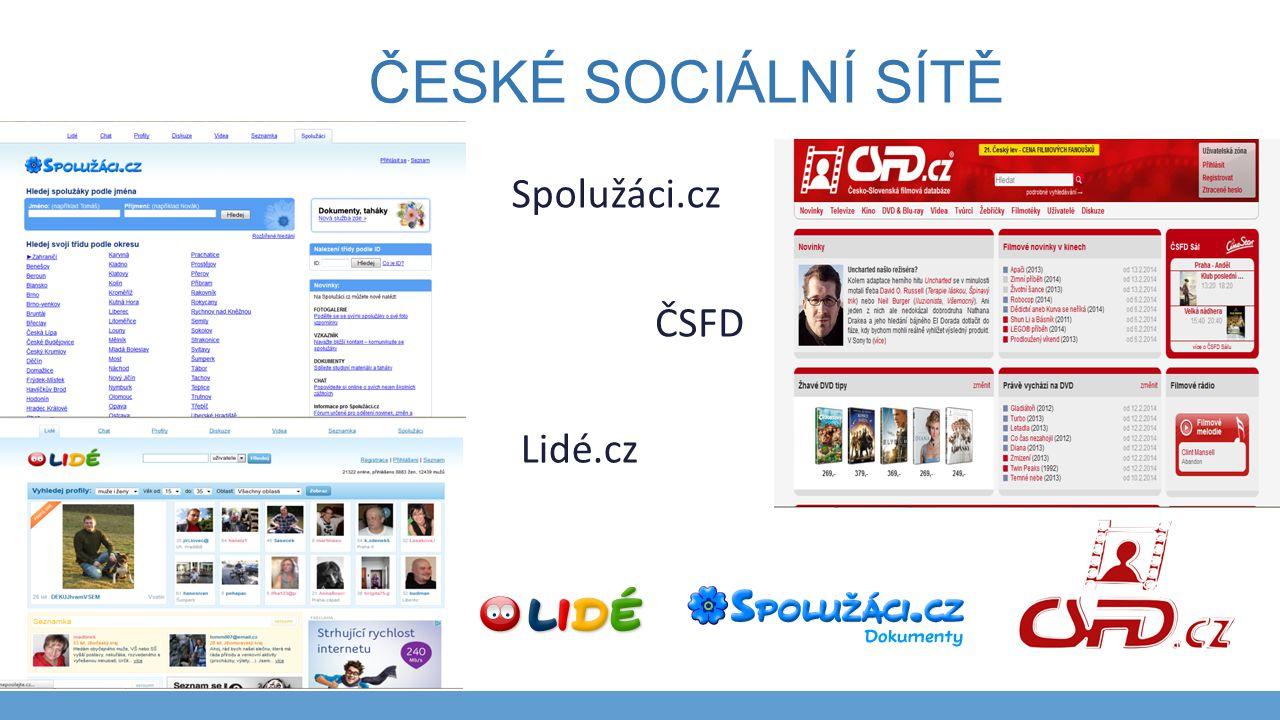 České sociální sítě Spolužáci.cz ČSFD Lidé.cz