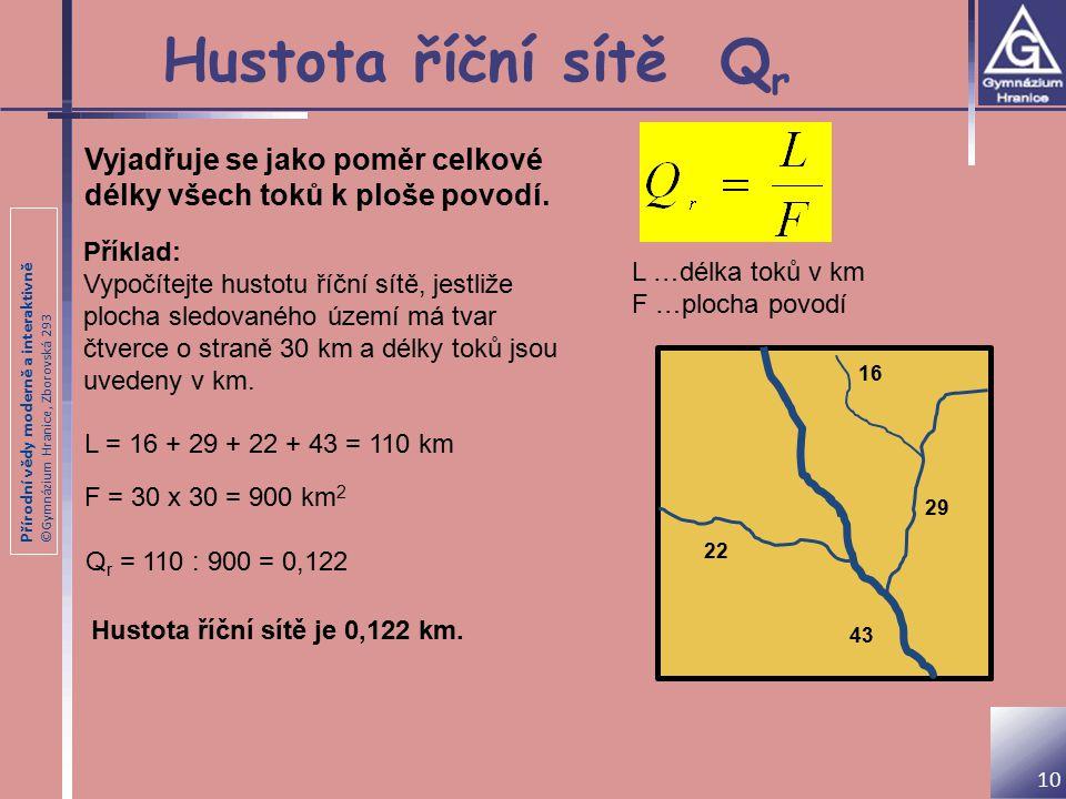 Hustota říční sítě Qr Vyjadřuje se jako poměr celkové délky všech toků k ploše povodí. Příklad: