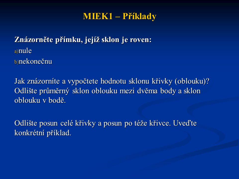 MIEK1 – Příklady Znázorněte přímku, jejíž sklon je roven:
