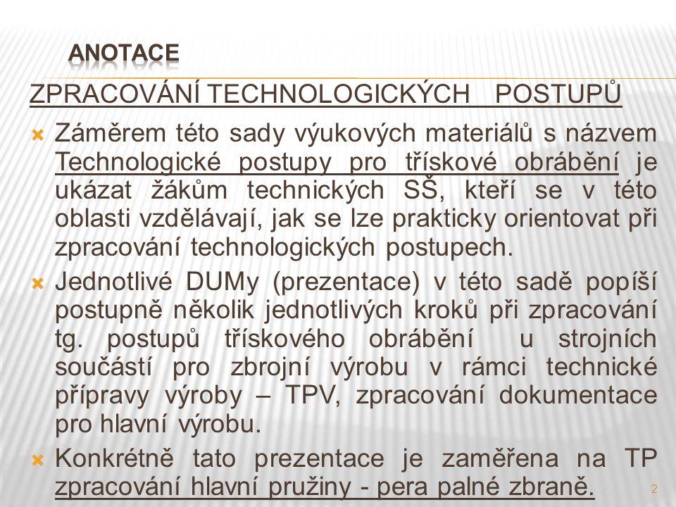 ZPRACOVÁNÍ TECHNOLOGICKÝCH POSTUPŮ