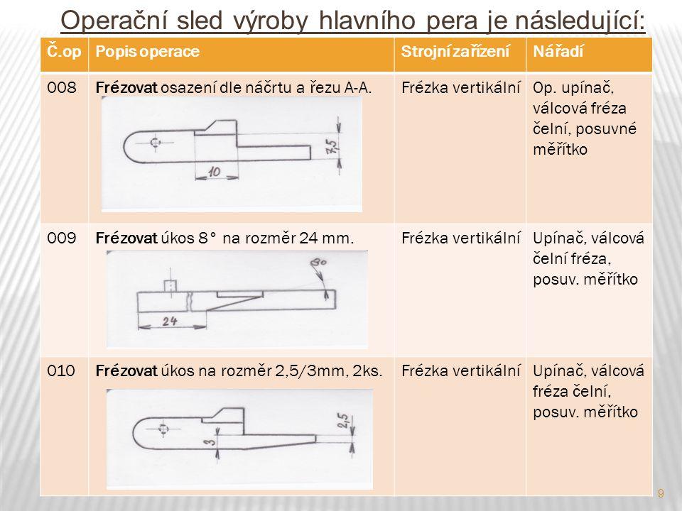 Operační sled výroby hlavního pera je následující: