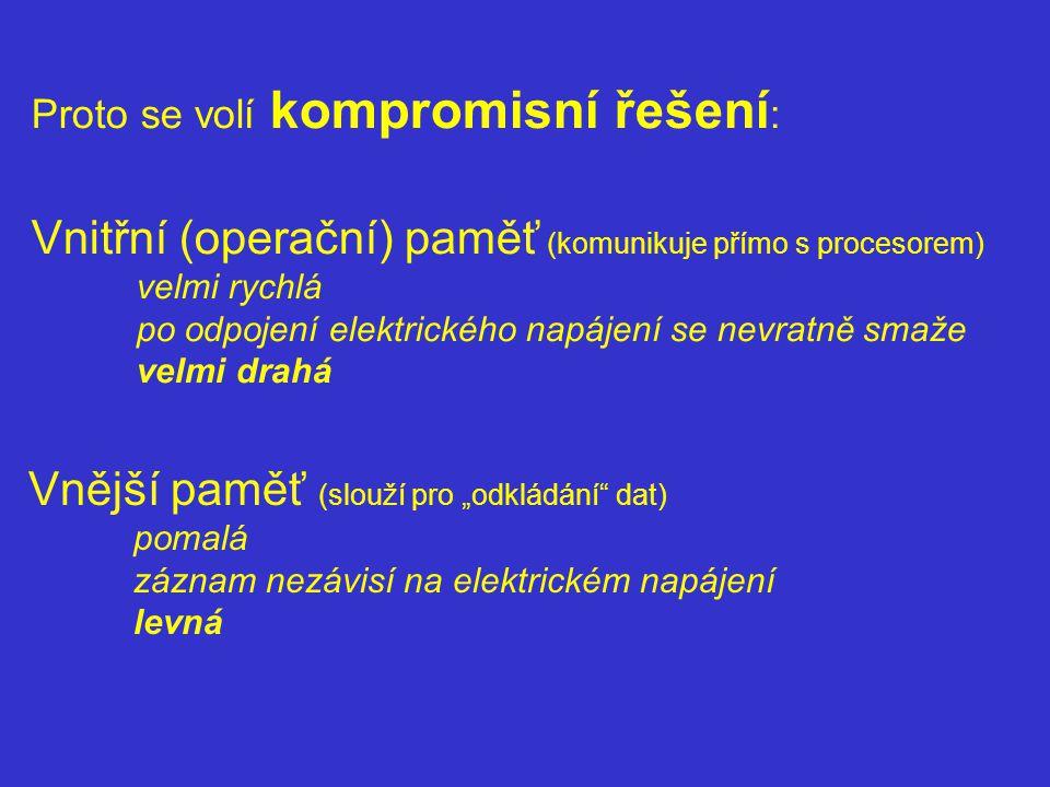 Vnitřní (operační) paměť (komunikuje přímo s procesorem)