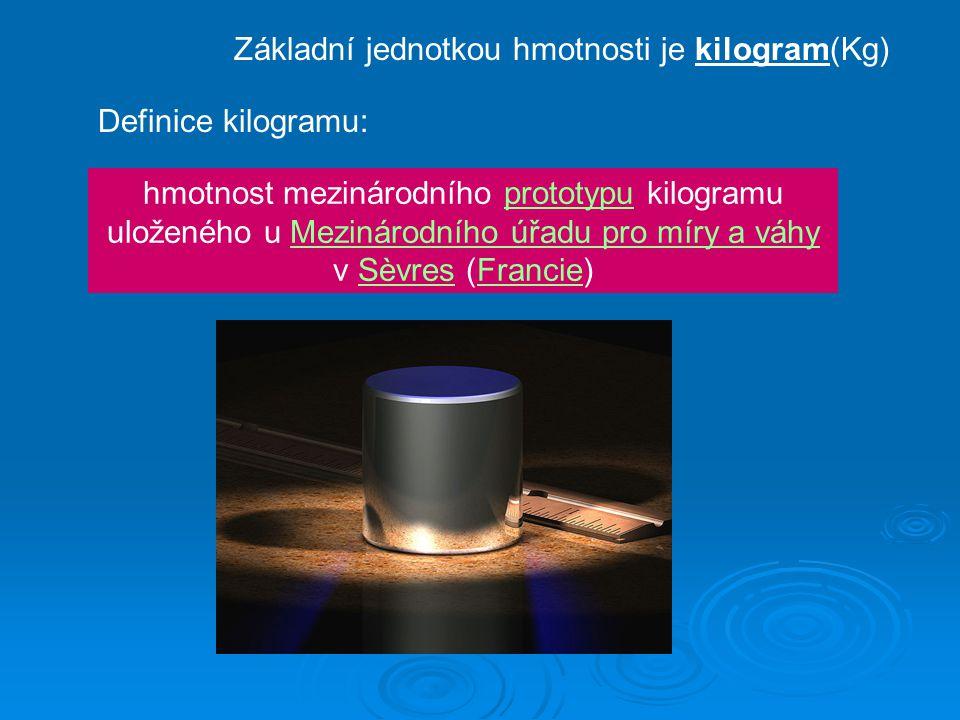 Základní jednotkou hmotnosti je kilogram(Kg)