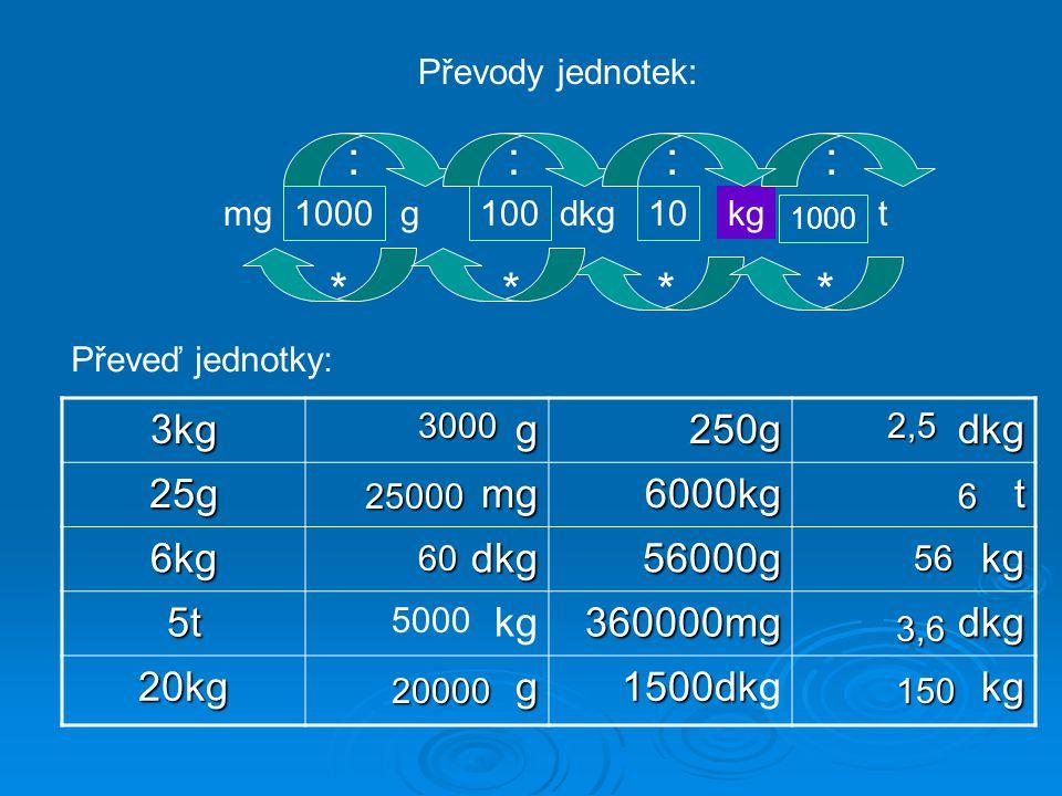 : : : : * * * * 3kg g 250g dkg 25g mg 6000kg t 6kg 56000g kg 5t