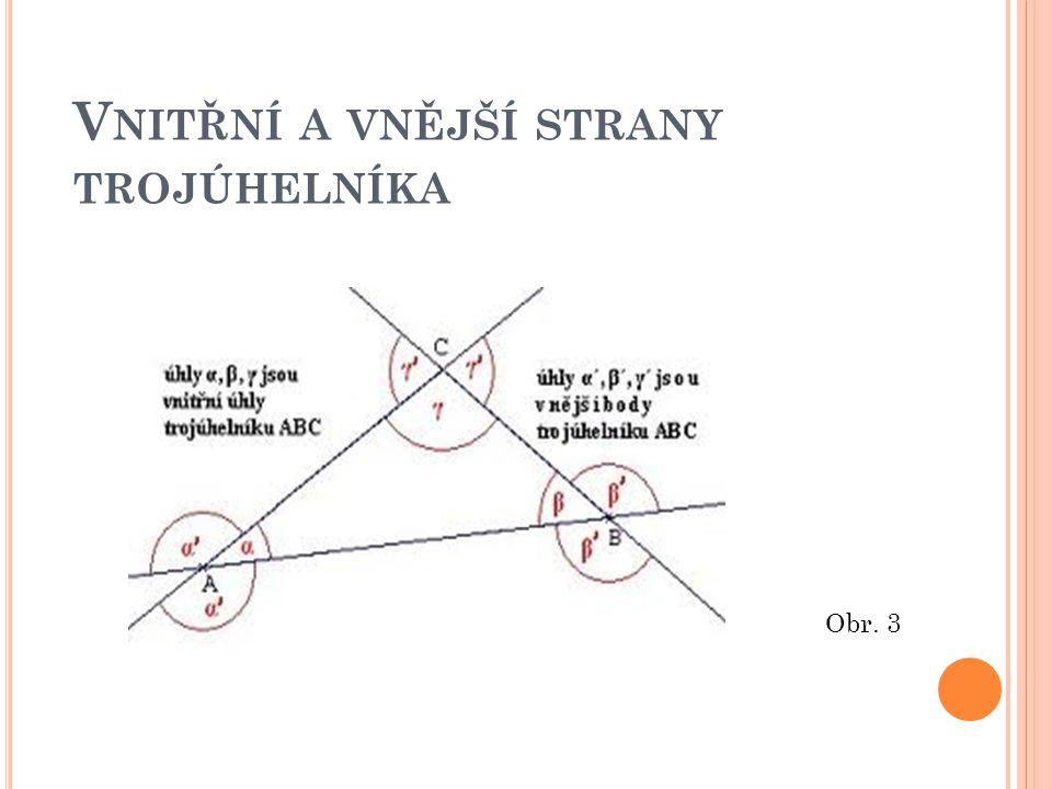Vnitřní a vnější strany trojúhelníka