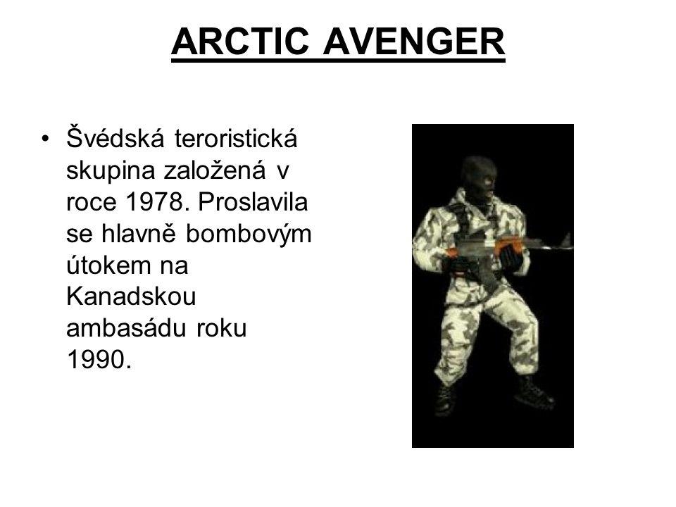 ARCTIC AVENGER Švédská teroristická skupina založená v roce 1978.