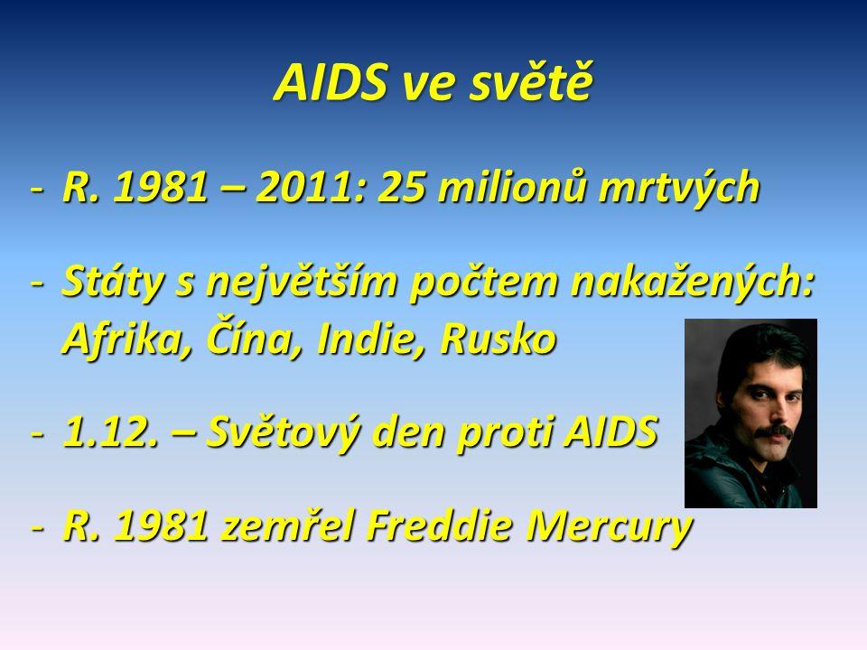 AIDS ve světě R. 1981 – 2011: 25 milionů mrtvých