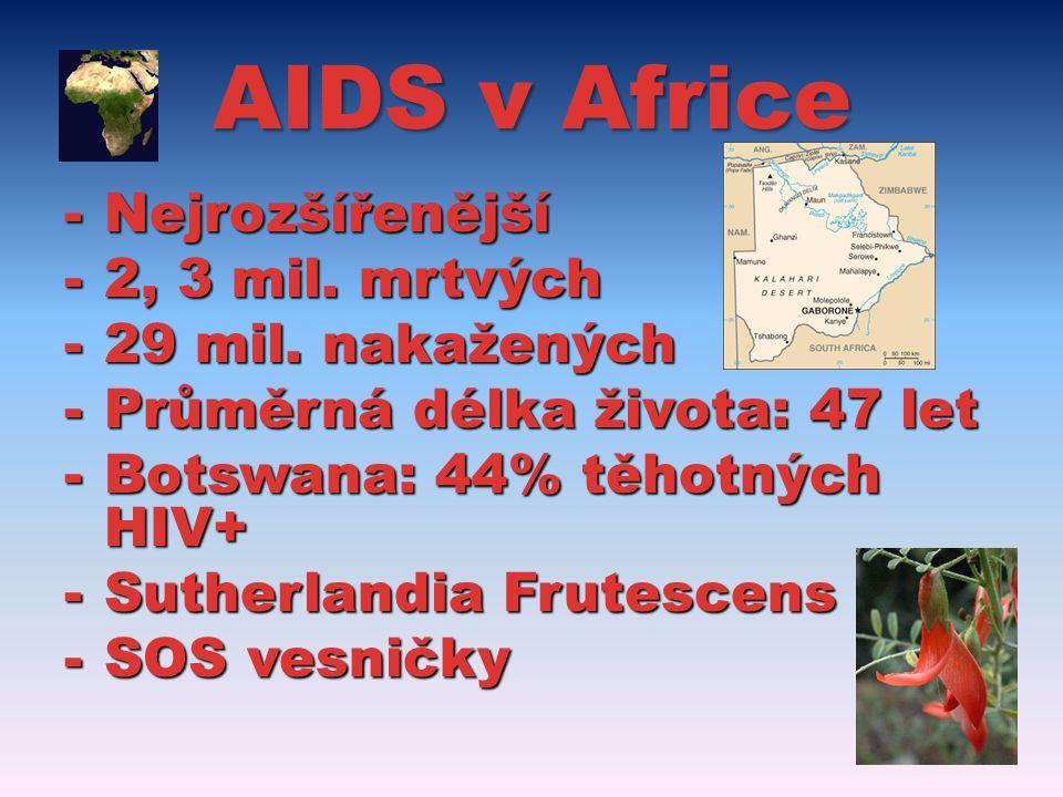 AIDS v Africe Nejrozšířenější 2, 3 mil. mrtvých 29 mil. nakažených