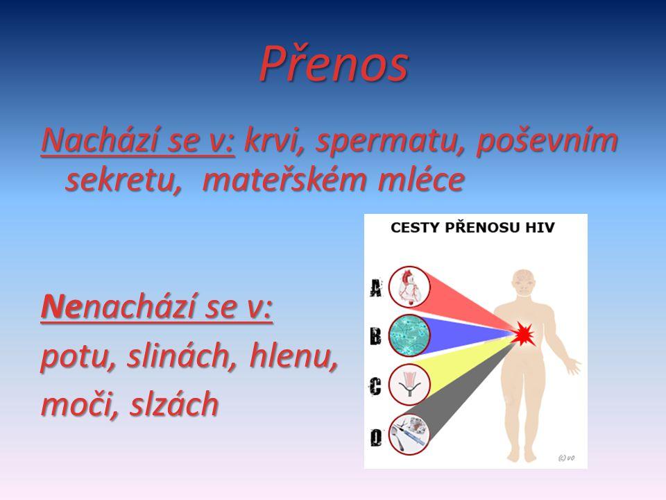 Přenos Nachází se v: krvi, spermatu, poševním sekretu, mateřském mléce Nenachází se v: potu, slinách, hlenu, moči, slzách