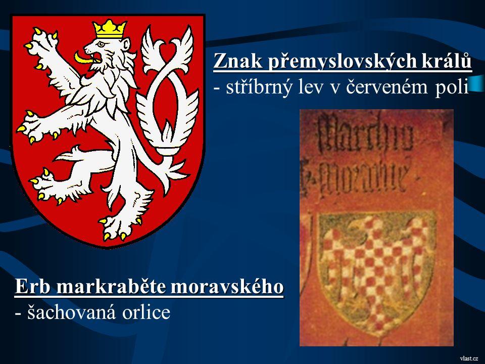 Znak přemyslovských králů - stříbrný lev v červeném poli