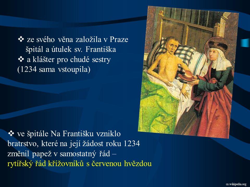 ze svého věna založila v Praze špitál a útulek sv. Františka