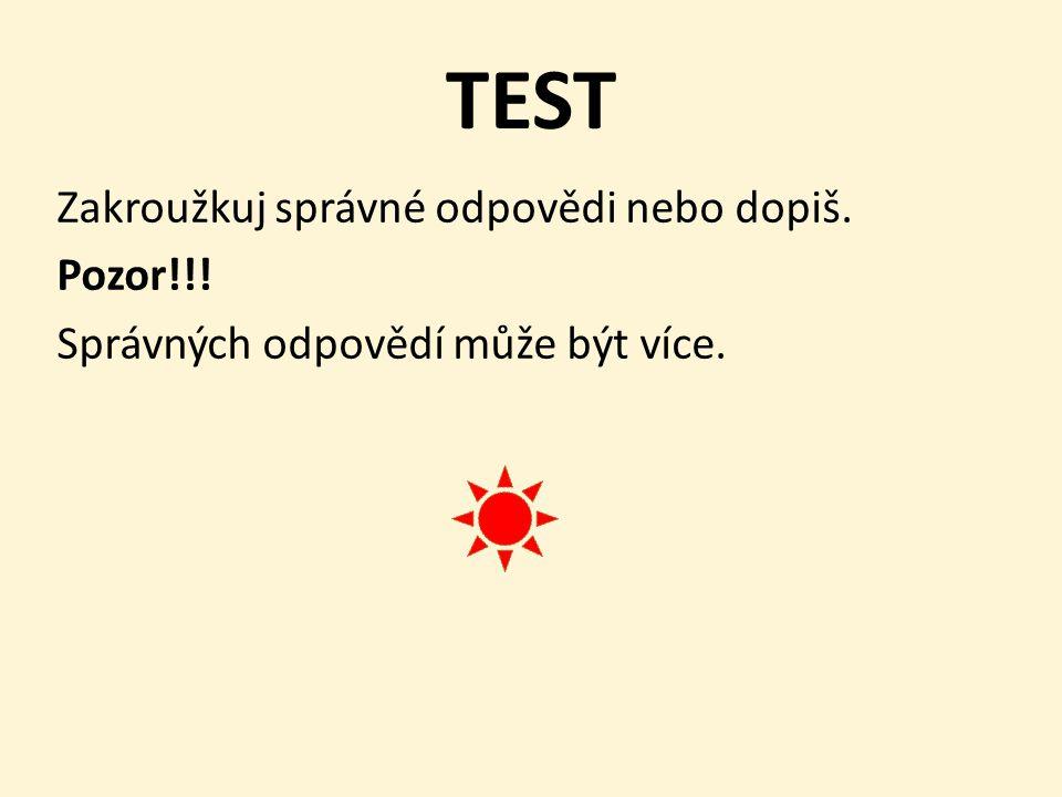 TEST Zakroužkuj správné odpovědi nebo dopiš. Pozor!!! Správných odpovědí může být více.