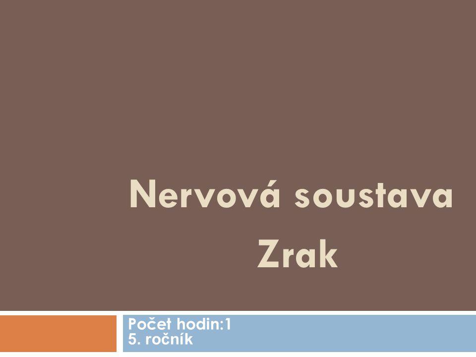 Nervová soustava Zrak Počet hodin:1 5. ročník