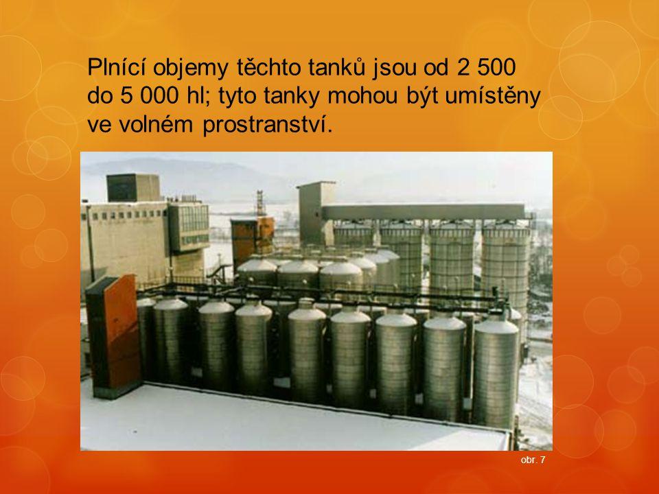 Plnící objemy těchto tanků jsou od 2 500 do 5 000 hl; tyto tanky mohou být umístěny ve volném prostranství.