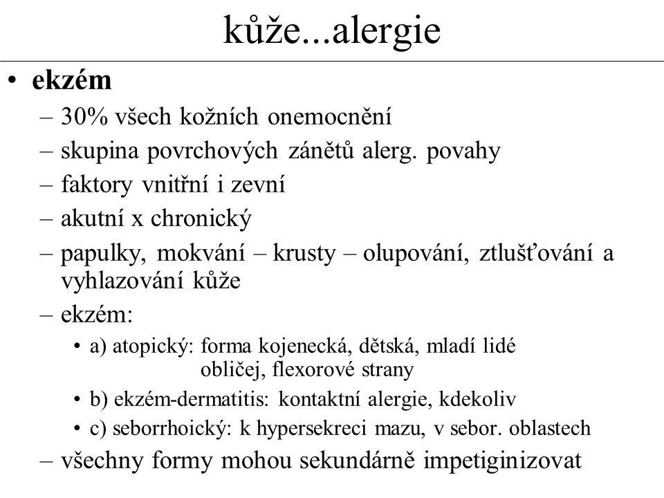 kůže...alergie ekzém 30% všech kožních onemocnění