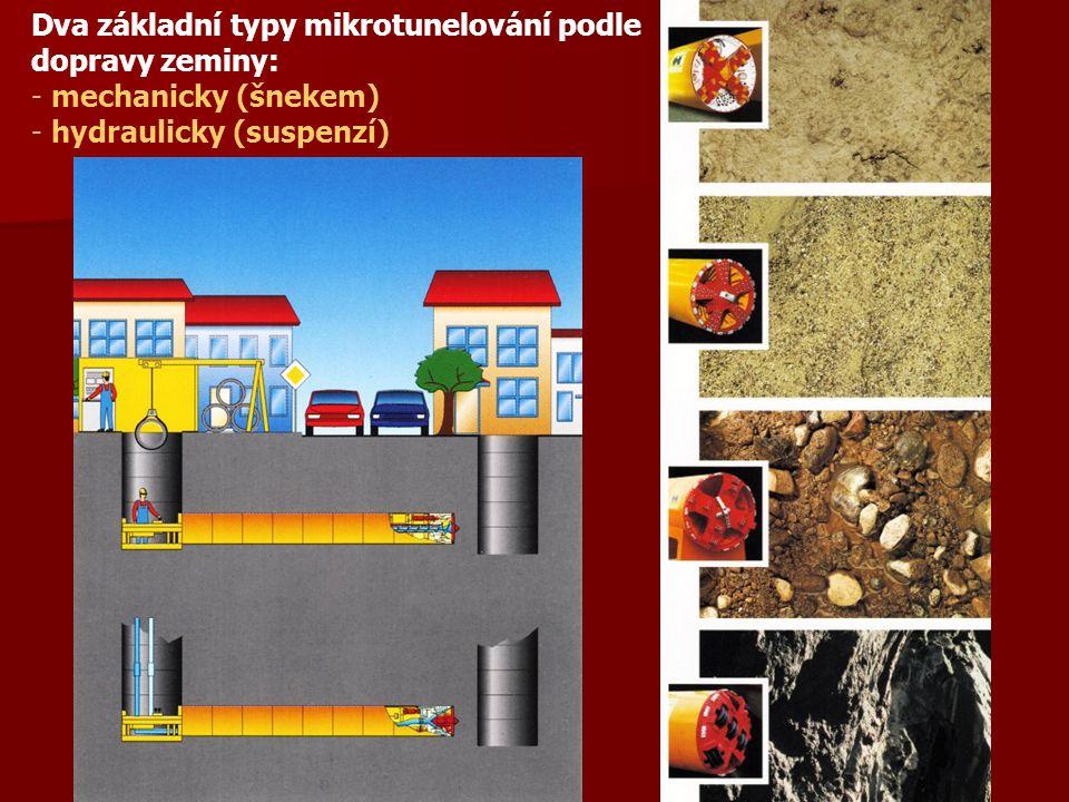Dva základní typy mikrotunelování podle dopravy zeminy: