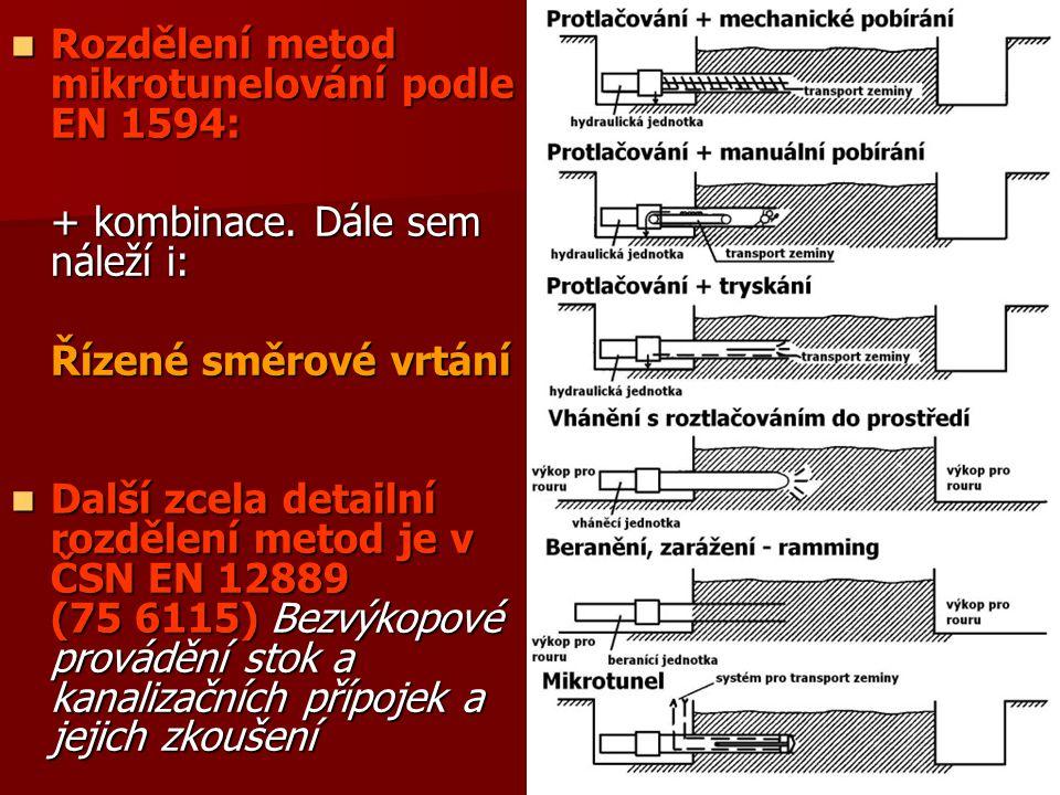 Rozdělení metod mikrotunelování podle EN 1594: