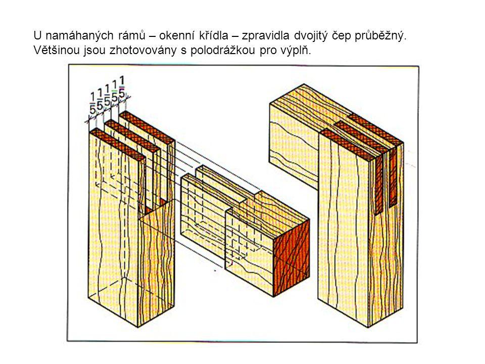 U namáhaných rámů – okenní křídla – zpravidla dvojitý čep průběžný