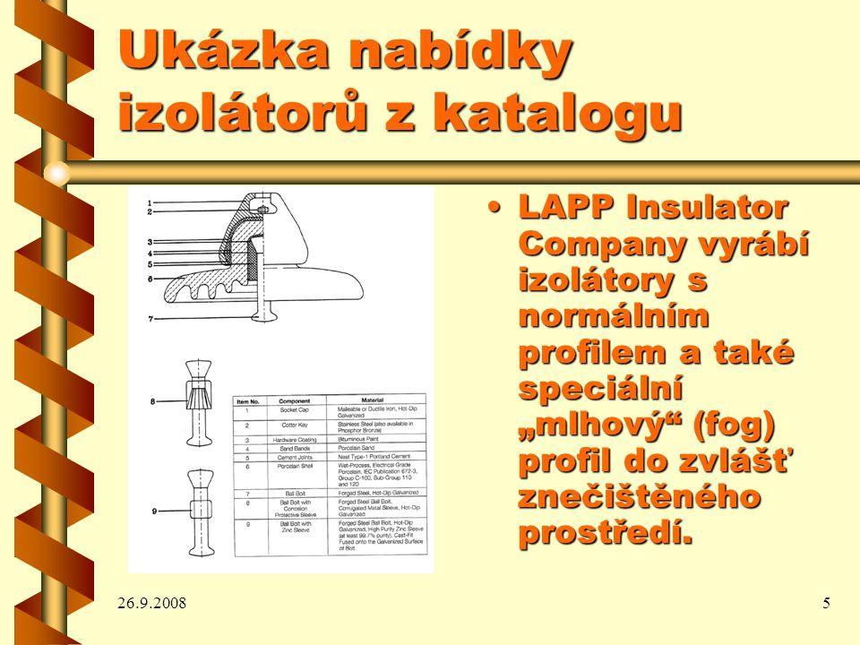 Ukázka nabídky izolátorů z katalogu