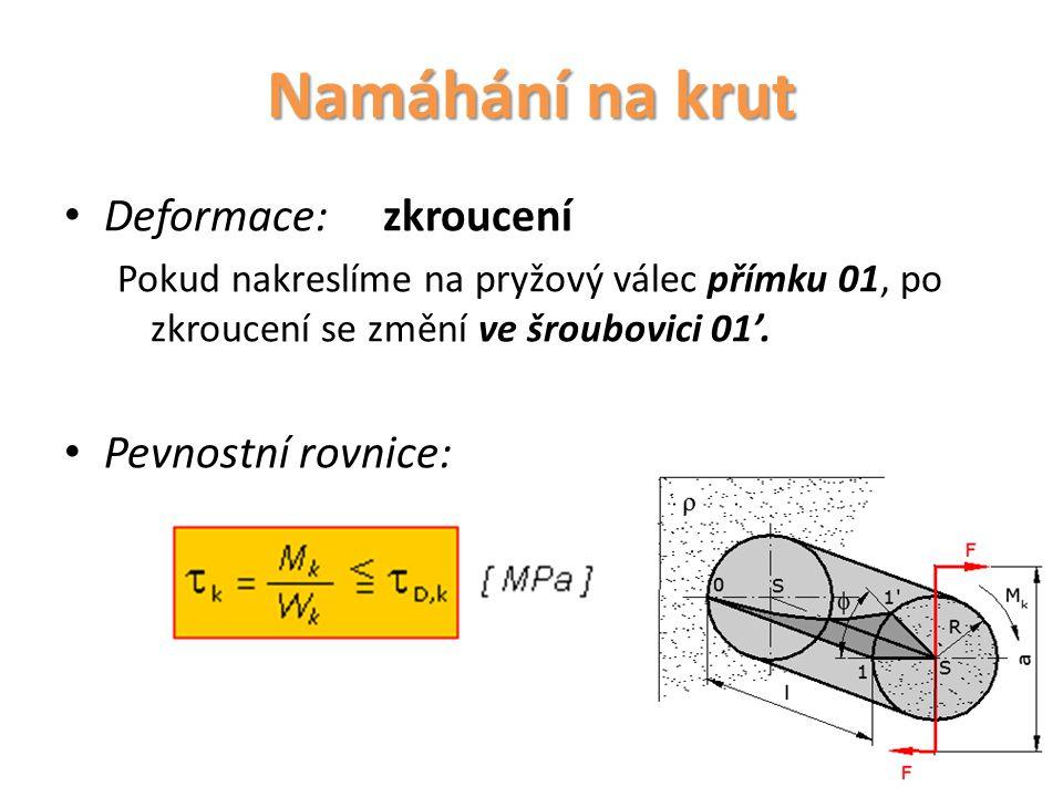 Namáhání na krut Deformace: zkroucení Pevnostní rovnice: