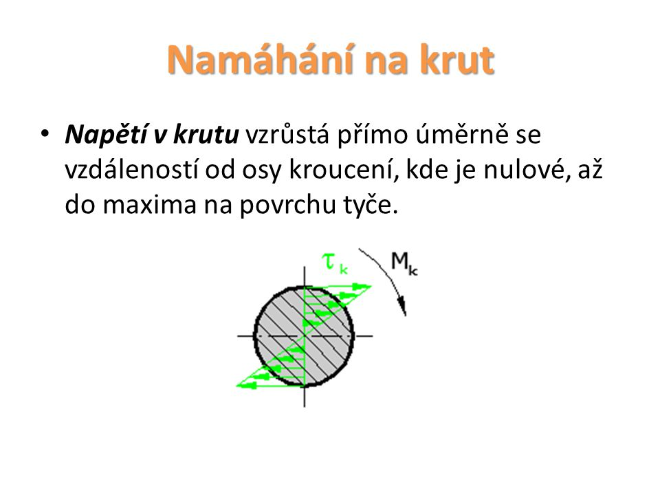 Namáhání na krut Napětí v krutu vzrůstá přímo úměrně se vzdáleností od osy kroucení, kde je nulové, až do maxima na povrchu tyče.