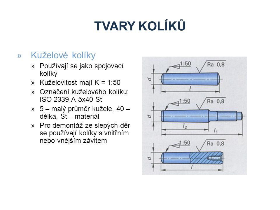 Tvary kolíků Kuželové kolíky Zdroje Používají se jako spojovací kolíky