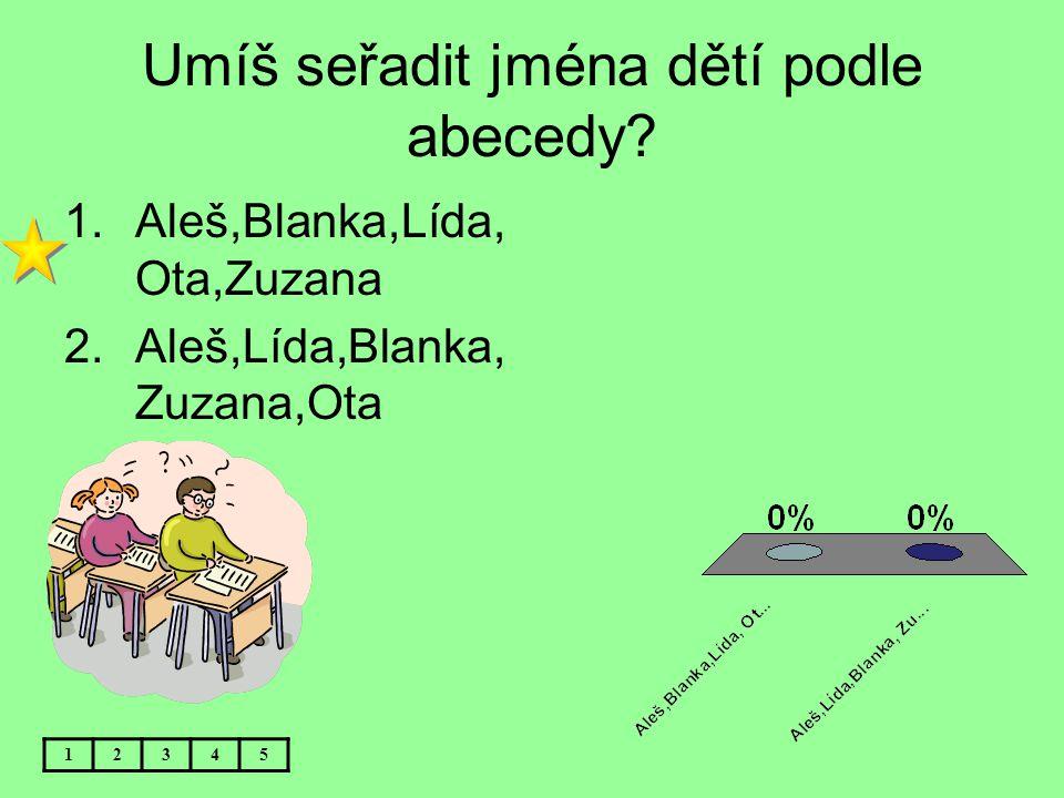 Umíš seřadit jména dětí podle abecedy