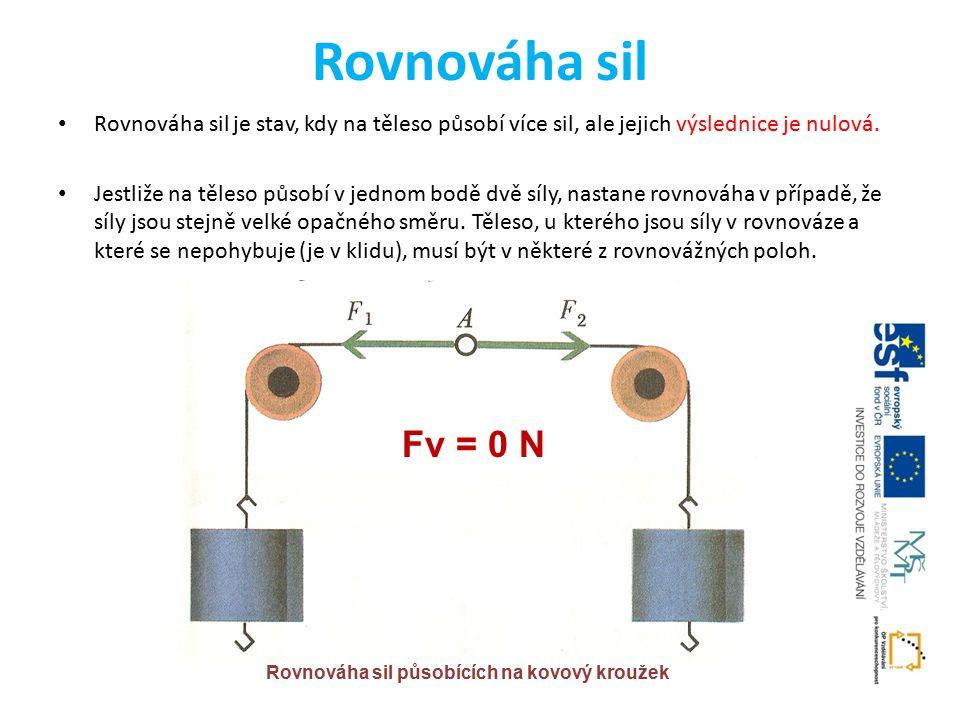 Rovnováha sil Rovnováha sil je stav, kdy na těleso působí více sil, ale jejich výslednice je nulová.