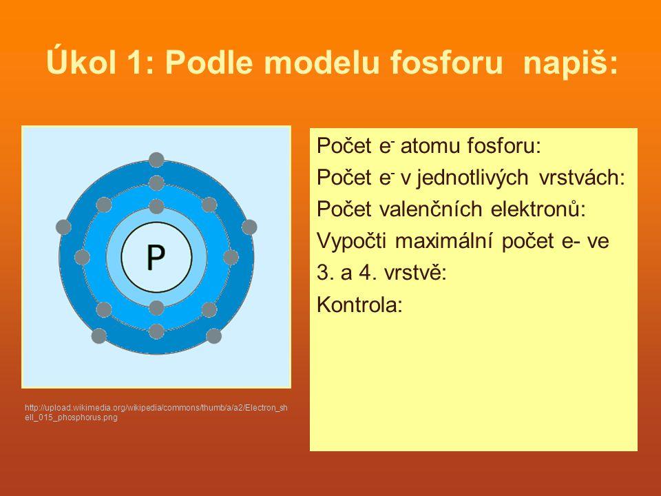 Úkol 1: Podle modelu fosforu napiš: