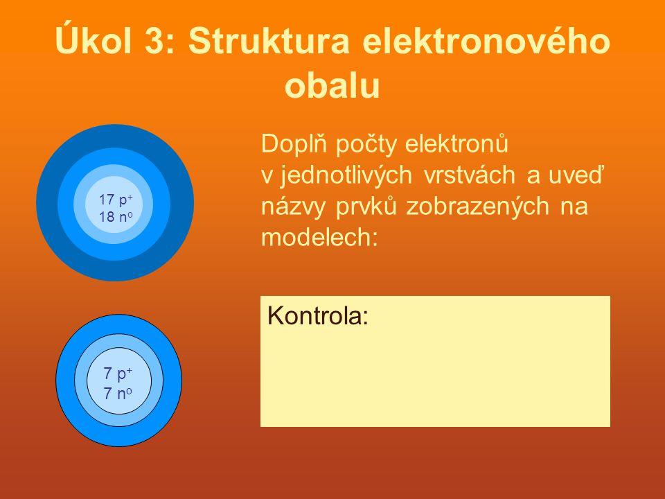 Úkol 3: Struktura elektronového obalu