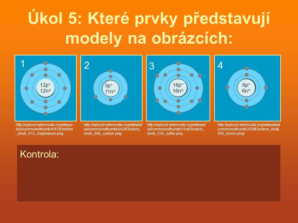 Úkol 5: Které prvky představují modely na obrázcích: